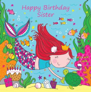 LIL10 - Sister Birthday Card Mermaid